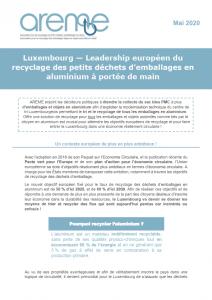 Luxembourg - Leadership européen du recyclage des petits déchets d'emballages en aluminium à portée de main