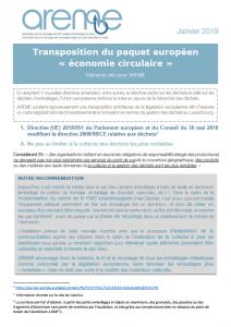 Transposition du paquet européen « économie circulaire »